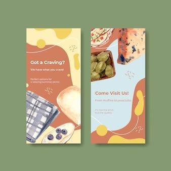 パンフレットと水彩イラストを宣伝するためのヨーロッパのピクニックコンセプトデザインのチラシテンプレート。
