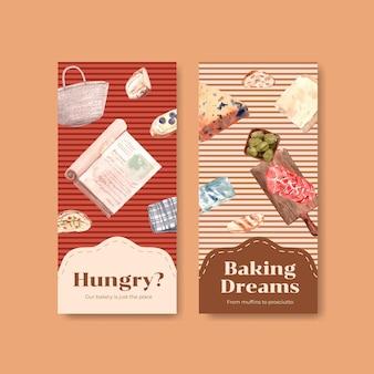 브로셔 유럽 피크닉 컨셉 디자인 템플릿 플라이어 및 수채화 그림 광고.