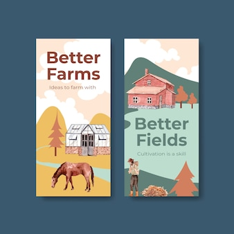Flyer template with farm organic concept design    watercolor    illustration.