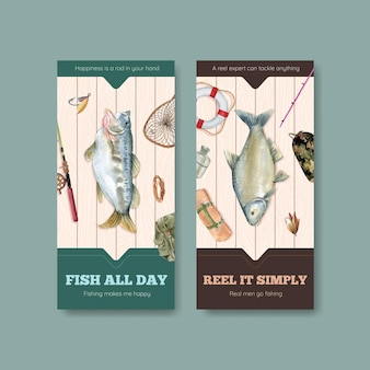 Flyer template with fishing camp concept, watercolor style