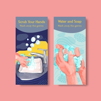 Flyer template with global handwashing day concept design