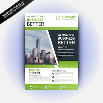 Flyer template with green abstract