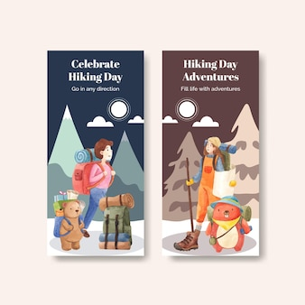 Flyer template with hiking in watercolor style