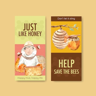 Flyer template with honey for brochure and leaflet watercolor
