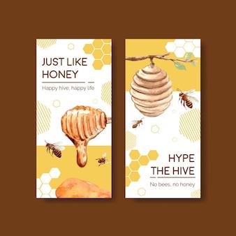 Modello di volantino con miele per brochure e volantini acquerello