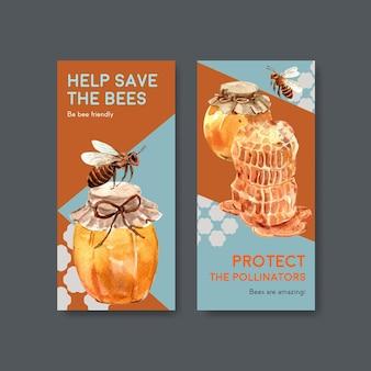 Шаблон флаера с медовой концепцией дизайна для брошюры и листовки акварель векторные иллюстрации