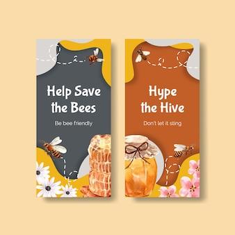 パンフレットやチラシの水彩画のための蜂蜜とチラシテンプレート