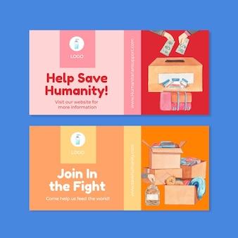 Шаблон флаера с концепцией гуманитарной помощи, акварельный стиль