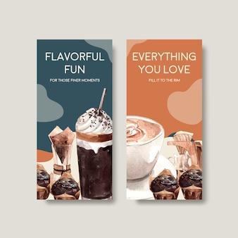 Шаблон флаера с концептуальным дизайном международного дня кофе для рекламы и брошюры акварель