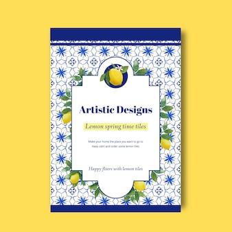 Шаблон флаера с итальянским концептуальным дизайном плитки для рекламы и маркетинговой акварели