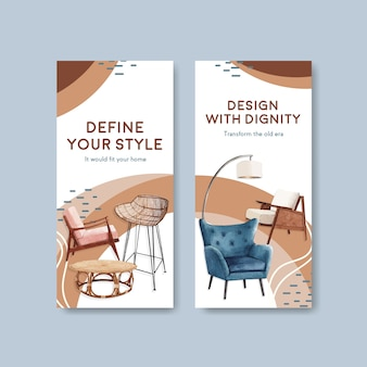 パンフレットやチラシの水彩ベクトルイラストのjassa家具コンセプトデザインのチラシテンプレート