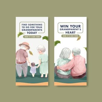 Шаблон флаера с национальным днем бабушек и дедушек концептуальным дизайном для рекламы и маркетинговой акварели.