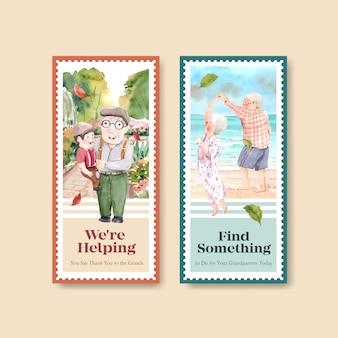 宣伝やマーケティングの水彩画のための祖父母の日コンセプトデザインのチラシテンプレート。
