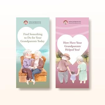 Шаблон флаера с концептуальным дизайном национального дня бабушек и дедушек