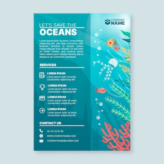 Flyer template with oceans elements