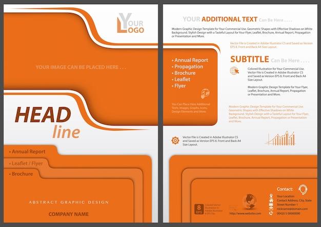 レイヤー効果と影とオレンジ色のデザイン要素を持つチラシテンプレート