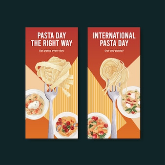 Flyer template with pasta cancept,watercolor style