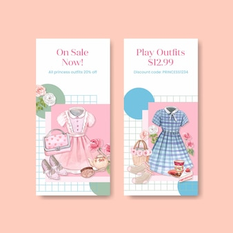 Flyer template with princess outfit, watercolor style