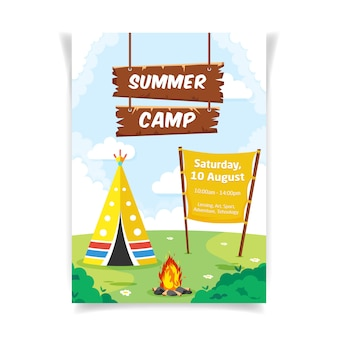 Flyer template with a tent and a campfire