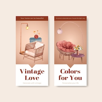 Flyer template with terracotta decor concept design for brochure and marketing watercolor vector illustration