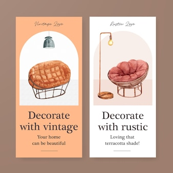 Modello di volantino con concept design di decorazioni in terracotta per brochure e illustrazione di vettore dell'acquerello di marketing