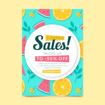 Flyer template with watermelon and citrus