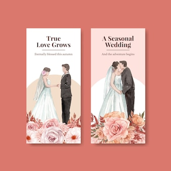 Flyer template with wedding autumn concept in watercolor style