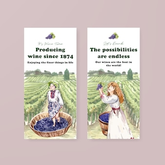 Flyer template with wine farm concept design for brochure and marketing watercolor illustration.