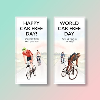 Flyer template with world car free day concept design