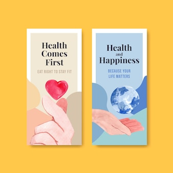 Flyer template with world mental health day concept design for brochure and leaflet watercolor