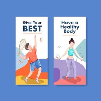 브로셔 및 전단지 수채화에 대한 세계 정신 건강의 날 컨셉 디자인 전단지 템플릿