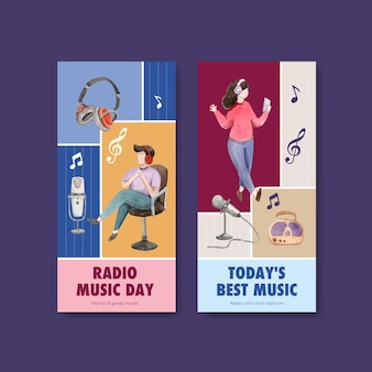 Flyer template with world radio day concept design for brochure and leaflet watercolor illustration