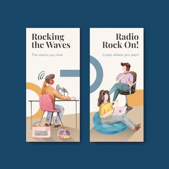 브로셔 및 전단지 수채화 그림에 대한 세계 라디오의 날 컨셉 디자인 전단 템플릿