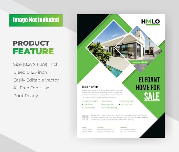 Элегантный дом на продажу недвижимости flyer template.