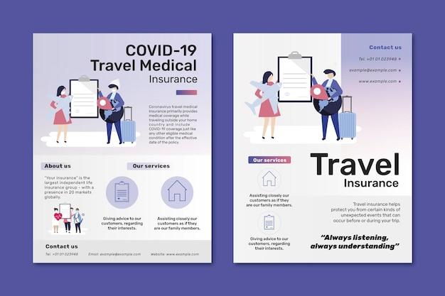 Modelli di volantini per l'assicurazione di viaggio e medica di viaggio covid-19
