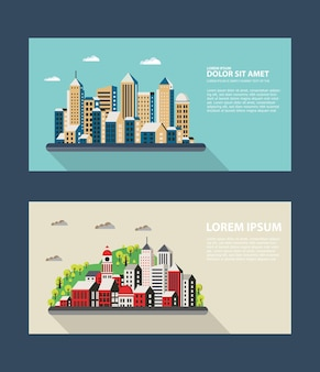 Flyer town for business and corporate business cards and invitations to urban style