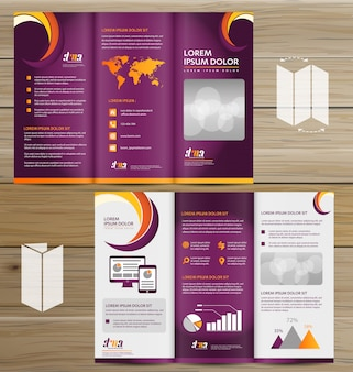 Flyer tri fold brochure leaflet vector design set