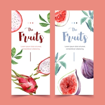Flyer watercolor with beautiful fruits theme, dragonfruit illustration template.