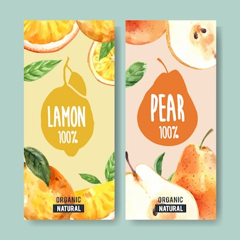 Flyer watercolor with fruits theme, lemon and pear illustration.