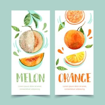 과일 테마, 멜론 및 오렌지 일러스트 템플릿 플라이어 수채화.