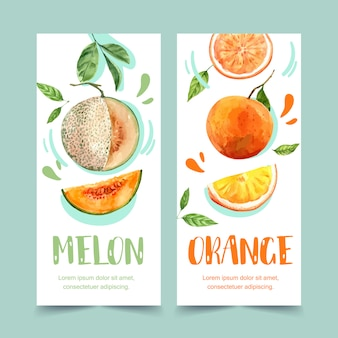 Flyer watercolor with fruits theme, melon and orange illustration template.