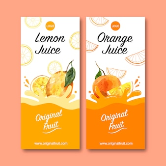 Flyer with fruits themed, creative orange color illustration template.