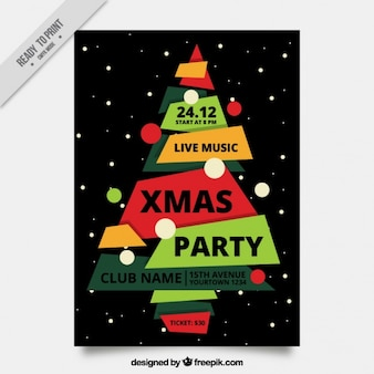 Flyer with an irregular decorative tree for christmas