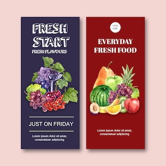 Flyer with various fruits, creative colorful illustration template.