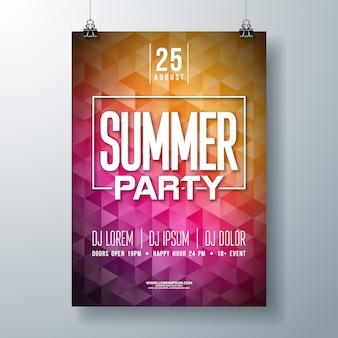 Летняя вечеринка flyer или шаблон плаката дизайн с типографикой и современным стилем