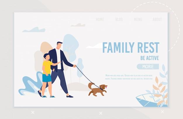 Яркий flyer надпись семейный отдых быть активным.