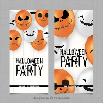Flyers of halloween party with pumpkin balloons