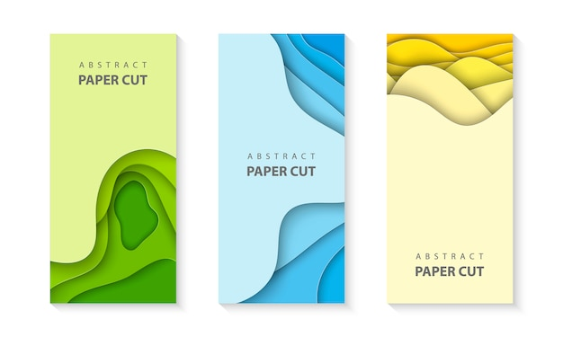 Flyers with colorful paper cut set