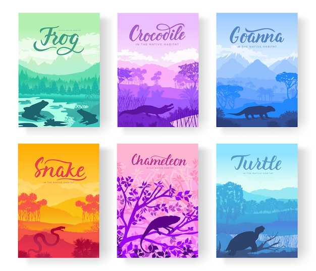 Flyers with wild animals in nature. template of magazines, poster, book cover, banners.