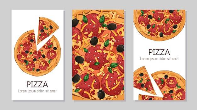 Flyers. шаблон для рекламы продукции: пицца.